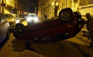 Bursa'da alkollü sürücü takla atan otomobilden yara almadan kurtuldu
