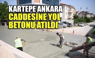 Kartepe Ankara caddesine yol betonu atıldı