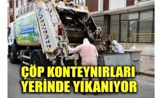 Çayırova'da çöp konteynırları yerinde yıkanıyor