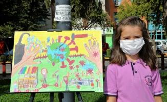 Gölcüklü öğrenciler koronavirüs'ten korumanın resmini çizdi
