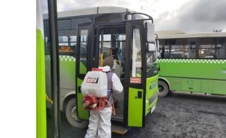 Gebze'de halk otobüsleri dezenfekte ediliyor
