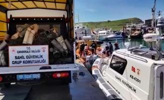 Çanakkale'de deniz dibinden 757 ahtapot tuzağı çıkarıldı