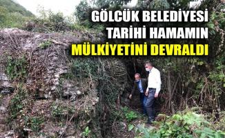 Gölcük Belediyesi, Halıdere'de bulunan tarihî hamamın mülkiyetini bugün devraldı