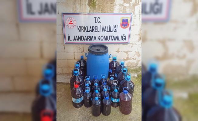 Kırklareli'nde bir evde 550 litre kaçak içki ele geçirildi