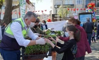 Lüleburgaz Belediyesi'nin ürettiği fideler vatandaşa dağıtıldı