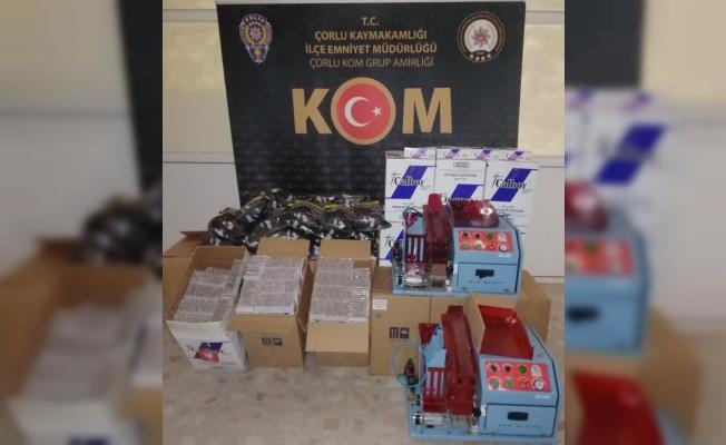 Polisin düzenlediği operasyonda 252 bin 920 makaron ele geçirildi