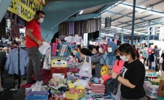 Edirne'deki uluslararası halk pazarı 6 ay sonra kapılarını açtı