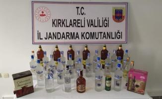 Kırklareli'nde bir evde 38 litre kaçak içki ele geçirildi