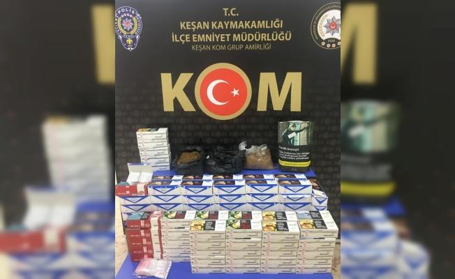 Keşan'da bir markette tek satılmak için hazırlanmış tütünle doldurulmuş makaron ele geçirildi