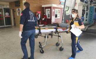 Bursa'da akıma kapılan işçinin üzerini toprakla örterek ambulans beklediler
