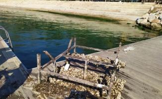 Dalgıçların İzmit Körfezi'nde karşılaştığı piknik masası deniz süpürgesiyle çıkarıldı