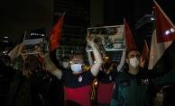 İsrailin İstanbul Başkonsolosluğu önünde bir grup, Mescid-i Aksa saldırısını protesto etti