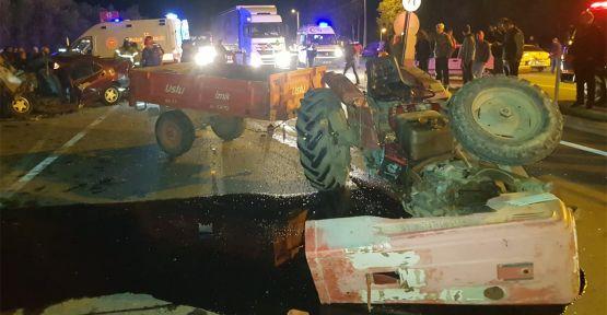 Traktörle çarpışan otomobilin sürücüsü hayatını kaybetti
